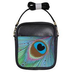 Peacock Feather Lines Background Girls Sling Bags by Simbadda