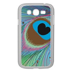 Peacock Feather Lines Background Samsung Galaxy Grand Duos I9082 Case (white) by Simbadda