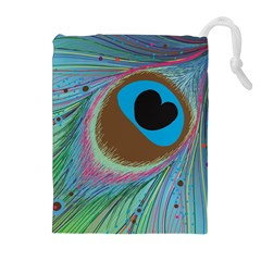 Peacock Feather Lines Background Drawstring Pouches (extra Large) by Simbadda