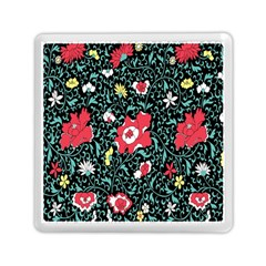 Vintage Floral Wallpaper Background Memory Card Reader (square)