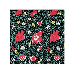 Vintage Floral Wallpaper Background Small Satin Scarf (square)