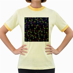 Vintage Unique Pattern Women s Fitted Ringer T Shirts by Simbadda