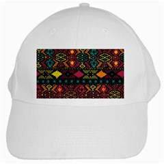 Traditional Art Ethnic Pattern White Cap by Simbadda