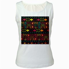 Traditional Art Ethnic Pattern Women s White Tank Top