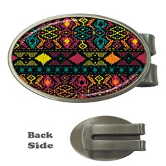 Traditional Art Ethnic Pattern Money Clips (oval)  by Simbadda