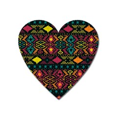 Traditional Art Ethnic Pattern Heart Magnet by Simbadda
