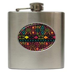 Traditional Art Ethnic Pattern Hip Flask (6 Oz) by Simbadda