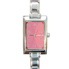 Circle Line Red Pink White Wave Rectangle Italian Charm Watch