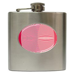 Circle Line Red Pink White Wave Hip Flask (6 Oz) by Alisyart