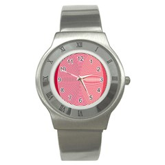 Circle Line Red Pink White Wave Stainless Steel Watch by Alisyart