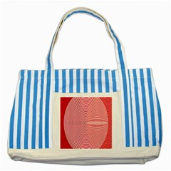 Circle Line Red Pink White Wave Striped Blue Tote Bag