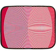 Circle Line Red Pink White Wave Double Sided Fleece Blanket (mini)
