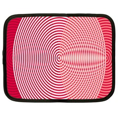 Circle Line Red Pink White Wave Netbook Case (xxl)