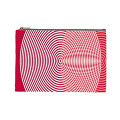 Circle Line Red Pink White Wave Cosmetic Bag (large)  by Alisyart