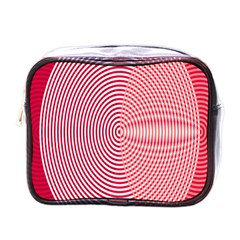 Circle Line Red Pink White Wave Mini Toiletries Bags