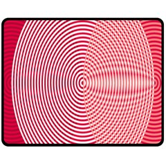 Circle Line Red Pink White Wave Fleece Blanket (medium)