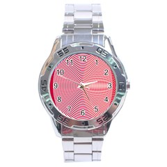 Circle Line Red Pink White Wave Stainless Steel Analogue Watch by Alisyart