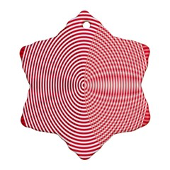 Circle Line Red Pink White Wave Snowflake Ornament (two Sides)