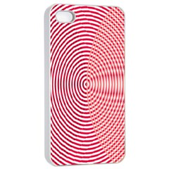 Circle Line Red Pink White Wave Apple Iphone 4/4s Seamless Case (white) by Alisyart