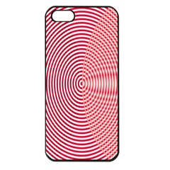 Circle Line Red Pink White Wave Apple Iphone 5 Seamless Case (black)