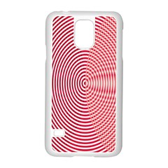 Circle Line Red Pink White Wave Samsung Galaxy S5 Case (white)
