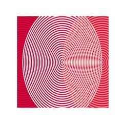 Circle Line Red Pink White Wave Small Satin Scarf (square)
