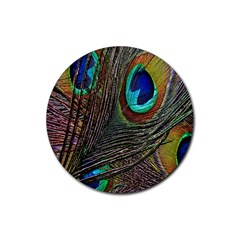 Peacock Feathers Rubber Round Coaster (4 Pack)