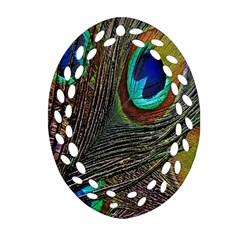 Peacock Feathers Oval Filigree Ornament (two Sides)