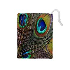 Peacock Feathers Drawstring Pouches (medium)
