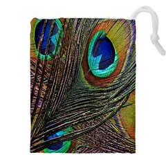 Peacock Feathers Drawstring Pouches (xxl)