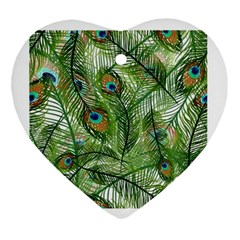 Peacock Feathers Pattern Ornament (heart)
