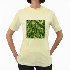 Peacock Feathers Pattern Women s Yellow T Shirt