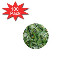 Peacock Feathers Pattern 1  Mini Magnets (100 Pack)