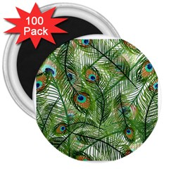 Peacock Feathers Pattern 3  Magnets (100 Pack)