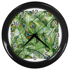 Peacock Feathers Pattern Wall Clocks (black)