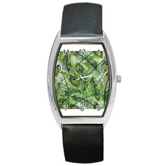 Peacock Feathers Pattern Barrel Style Metal Watch