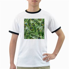 Peacock Feathers Pattern Ringer T Shirts