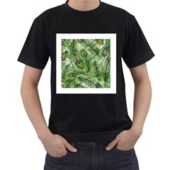 Peacock Feathers Pattern Men s T Shirt (black) (two Sided) by Simbadda