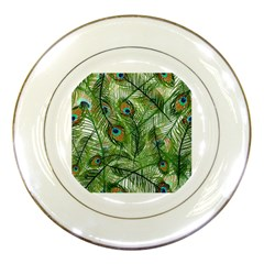 Peacock Feathers Pattern Porcelain Plates