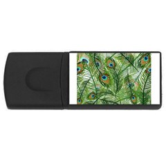 Peacock Feathers Pattern Usb Flash Drive Rectangular (4 Gb)