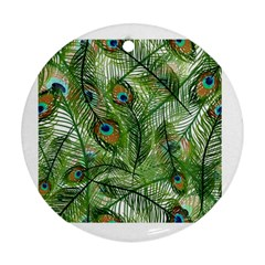 Peacock Feathers Pattern Round Ornament (two Sides)