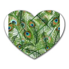 Peacock Feathers Pattern Heart Mousepads