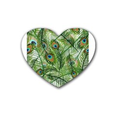 Peacock Feathers Pattern Heart Coaster (4 Pack)