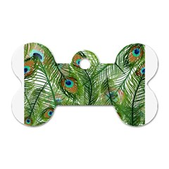 Peacock Feathers Pattern Dog Tag Bone (two Sides)