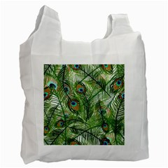 Peacock Feathers Pattern Recycle Bag (one Side) by Simbadda