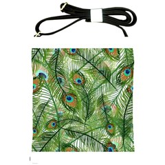 Peacock Feathers Pattern Shoulder Sling Bags by Simbadda