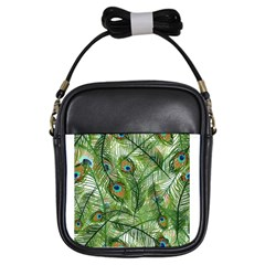 Peacock Feathers Pattern Girls Sling Bags