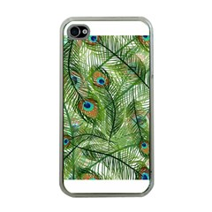 Peacock Feathers Pattern Apple Iphone 4 Case (clear)