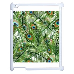 Peacock Feathers Pattern Apple Ipad 2 Case (white) by Simbadda