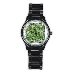 Peacock Feathers Pattern Stainless Steel Round Watch